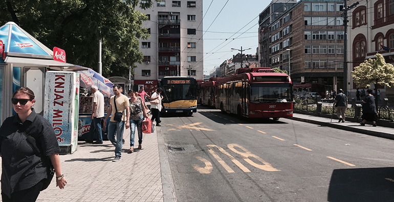 Access to public transport is an indicator for urban sustainability research. Picture from Studentlski Trg in Belgrade.