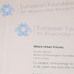 EFARRI Award Mistra Urban Futures